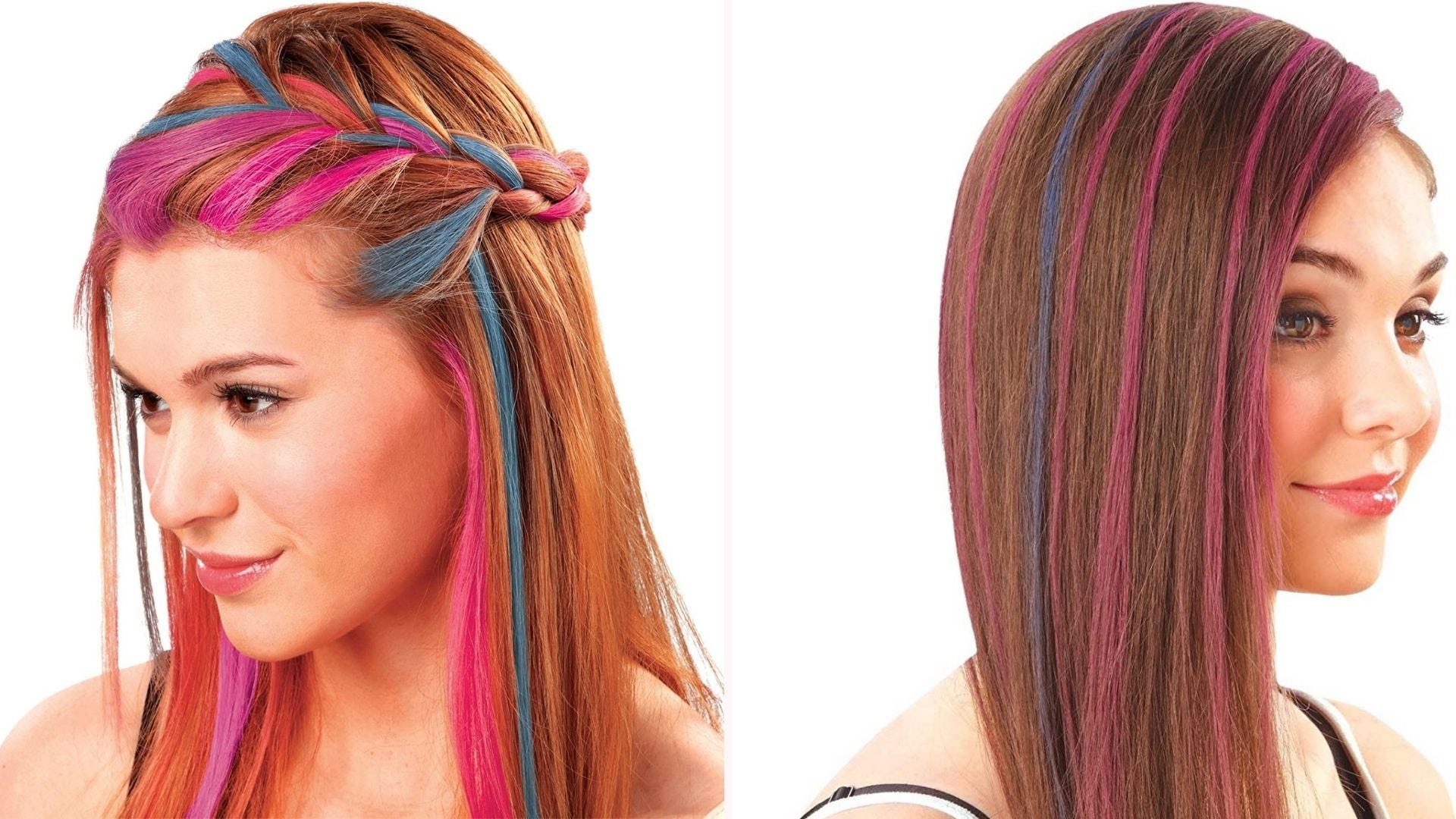 Two women with multicolored highlights in their hair