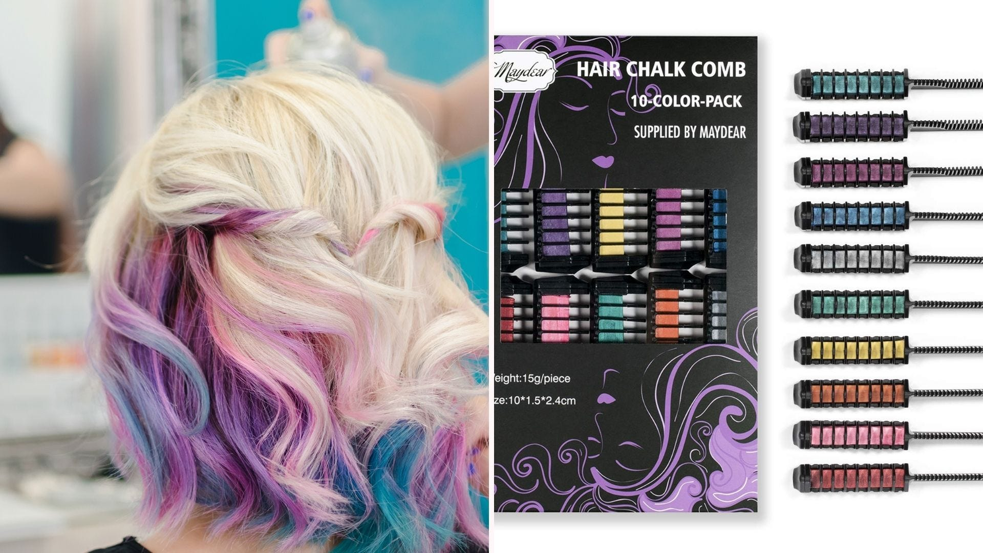 A woman with colorful streaks in her hair; a set of colored hair combs