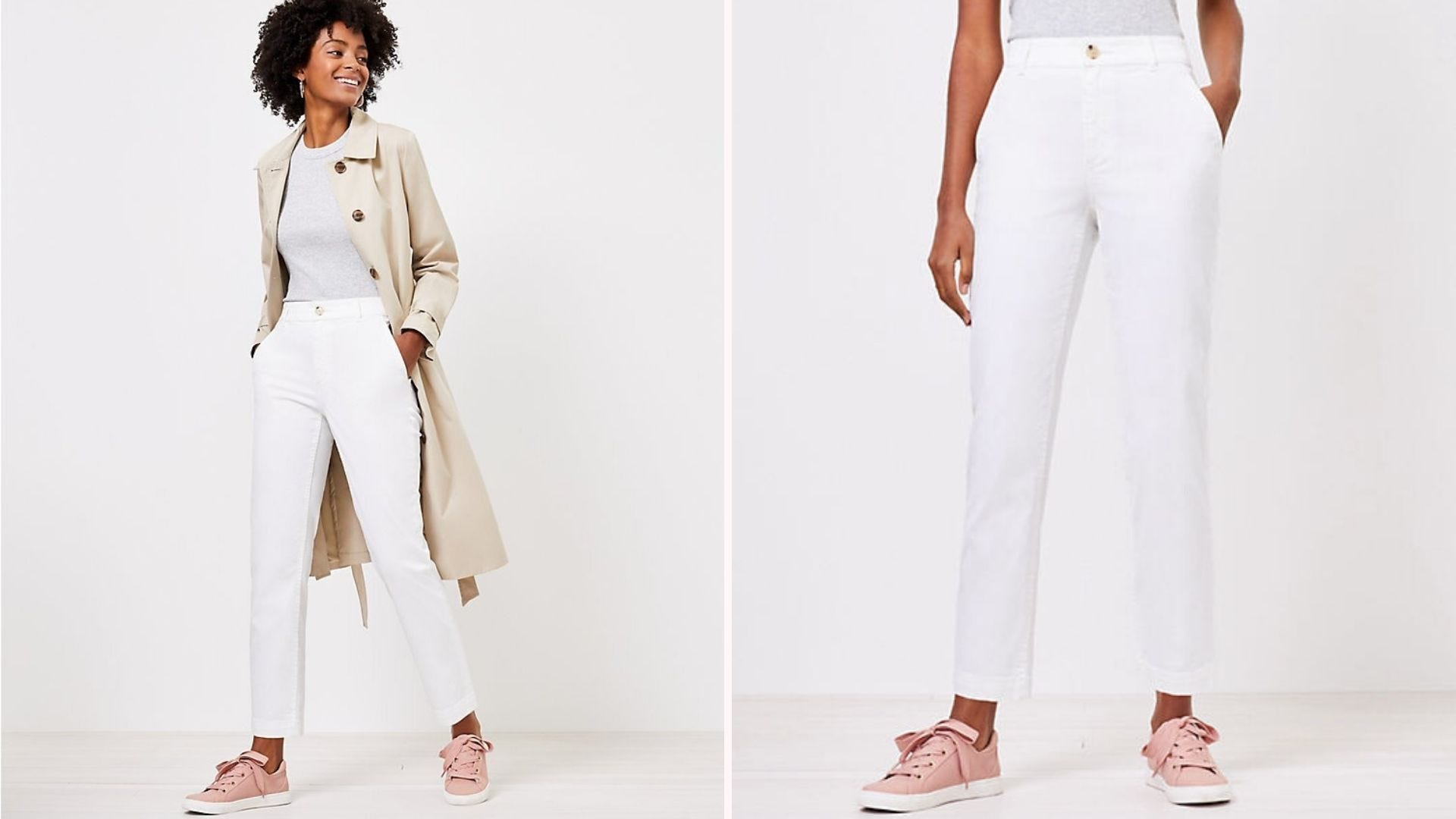 A woman wearing white pants, a gray shirt, and a beige coat; a close-up of a woman wearing white pants