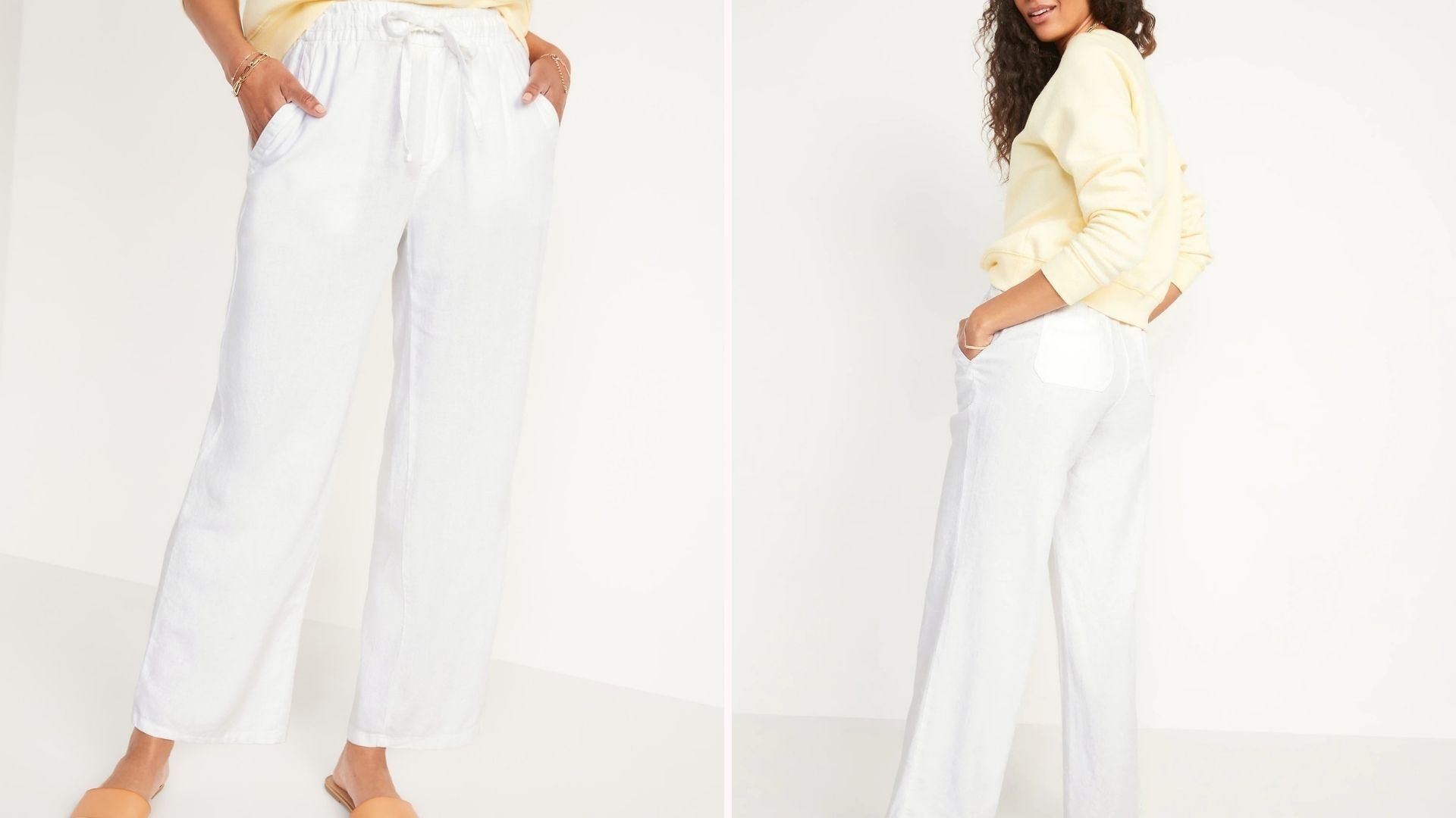 Front and back view of a woman wearing loose white pants and a yellow top