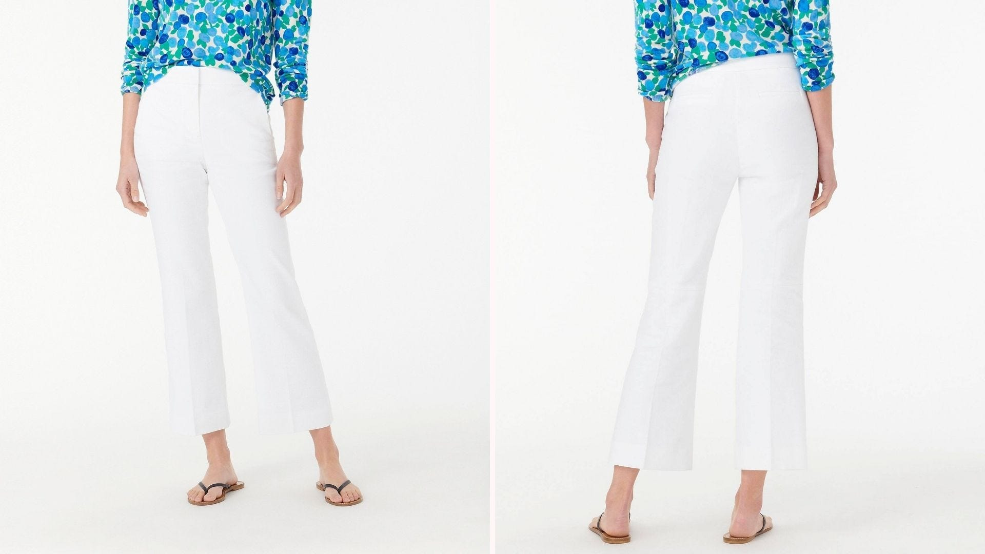 Front and back view of a woman wearing white pants and a blue patterned blouse