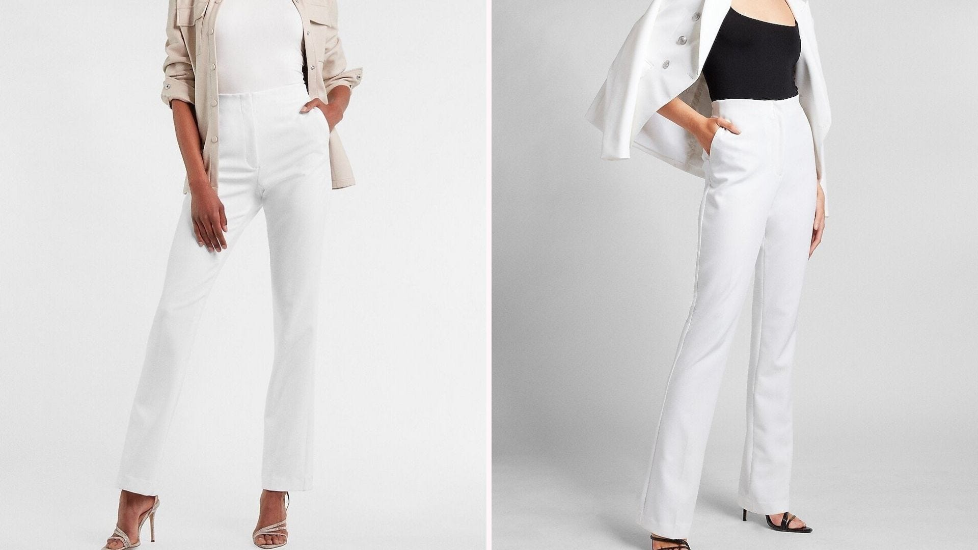 Shoulder-down pictures of two women wearing white pants with different colored tops and jackets