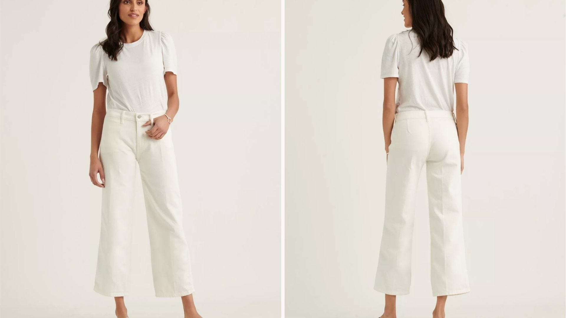 Front and back view of a woman wearing white crop pants and a white T-shirt