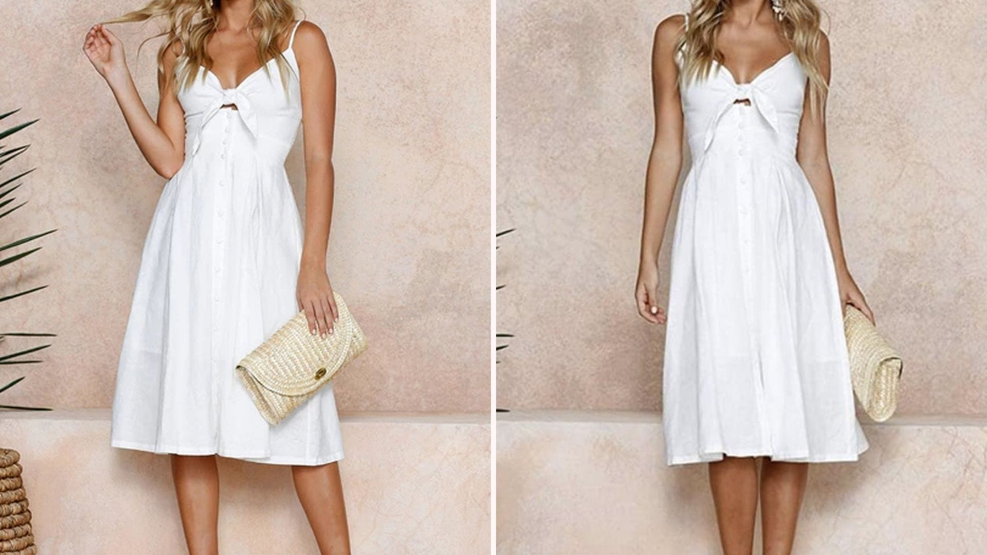 Two images of a woman wearing a white tie-front spaghetti strap dress