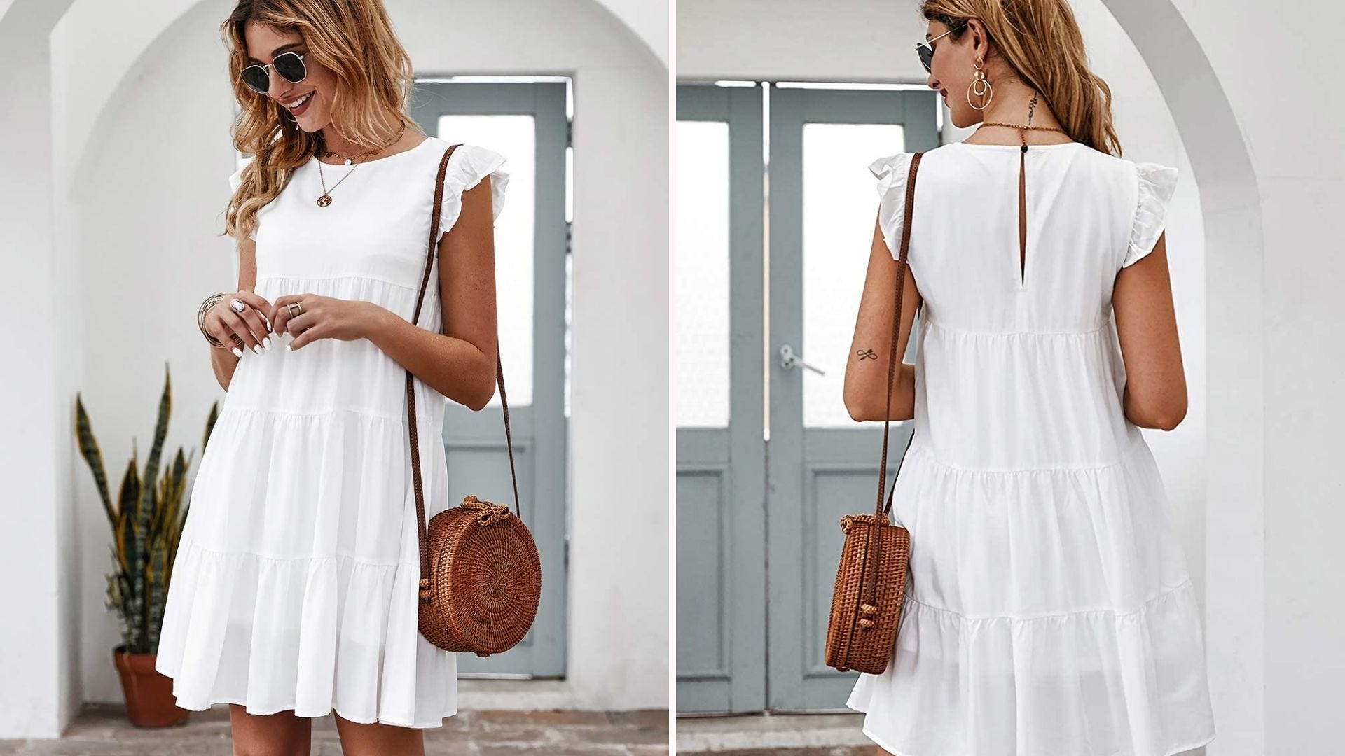 Front and back of a woman in a white dress with a brown purse