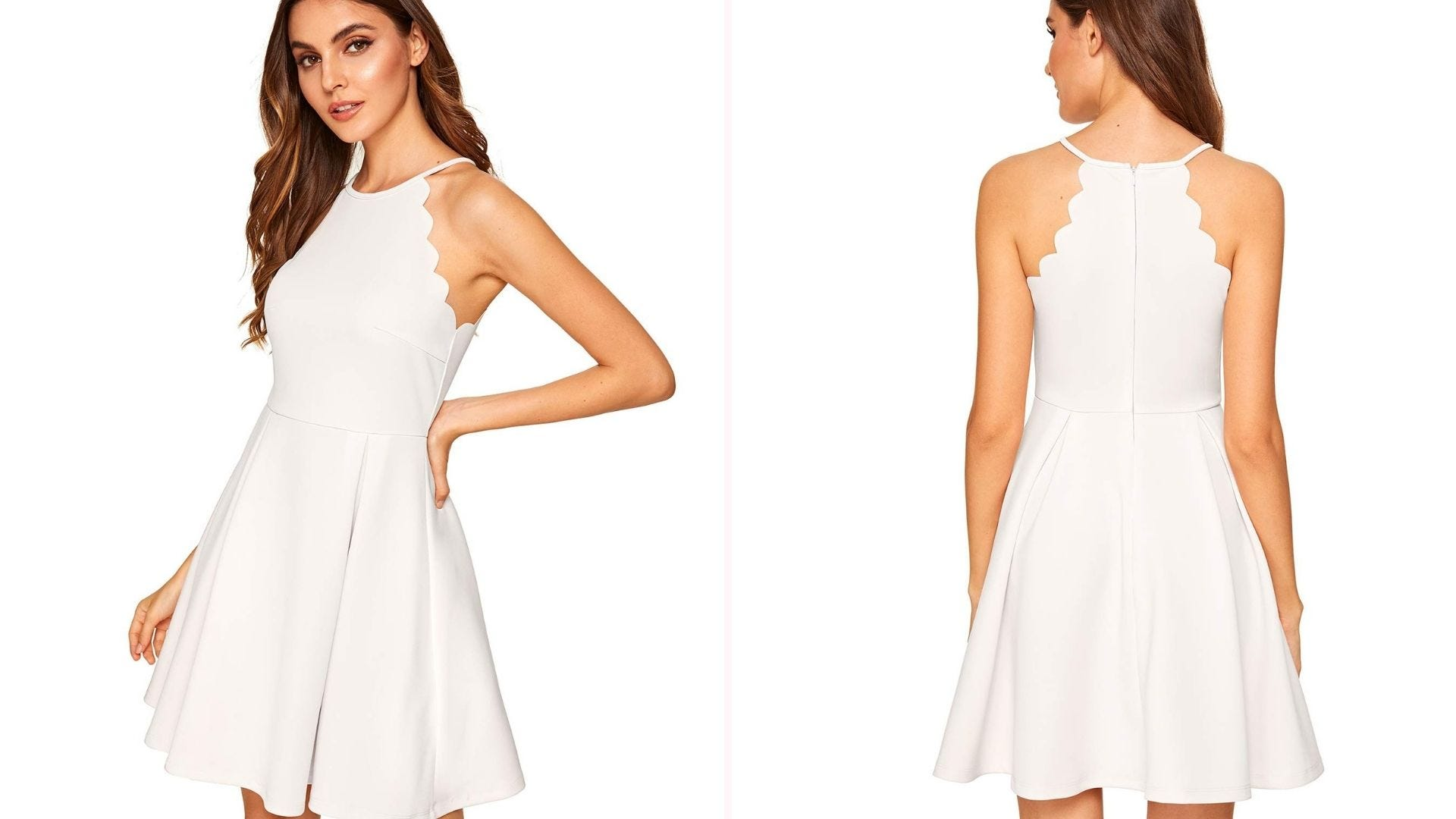 Front and back view of a brunette woman wearing a sleeveless white dress