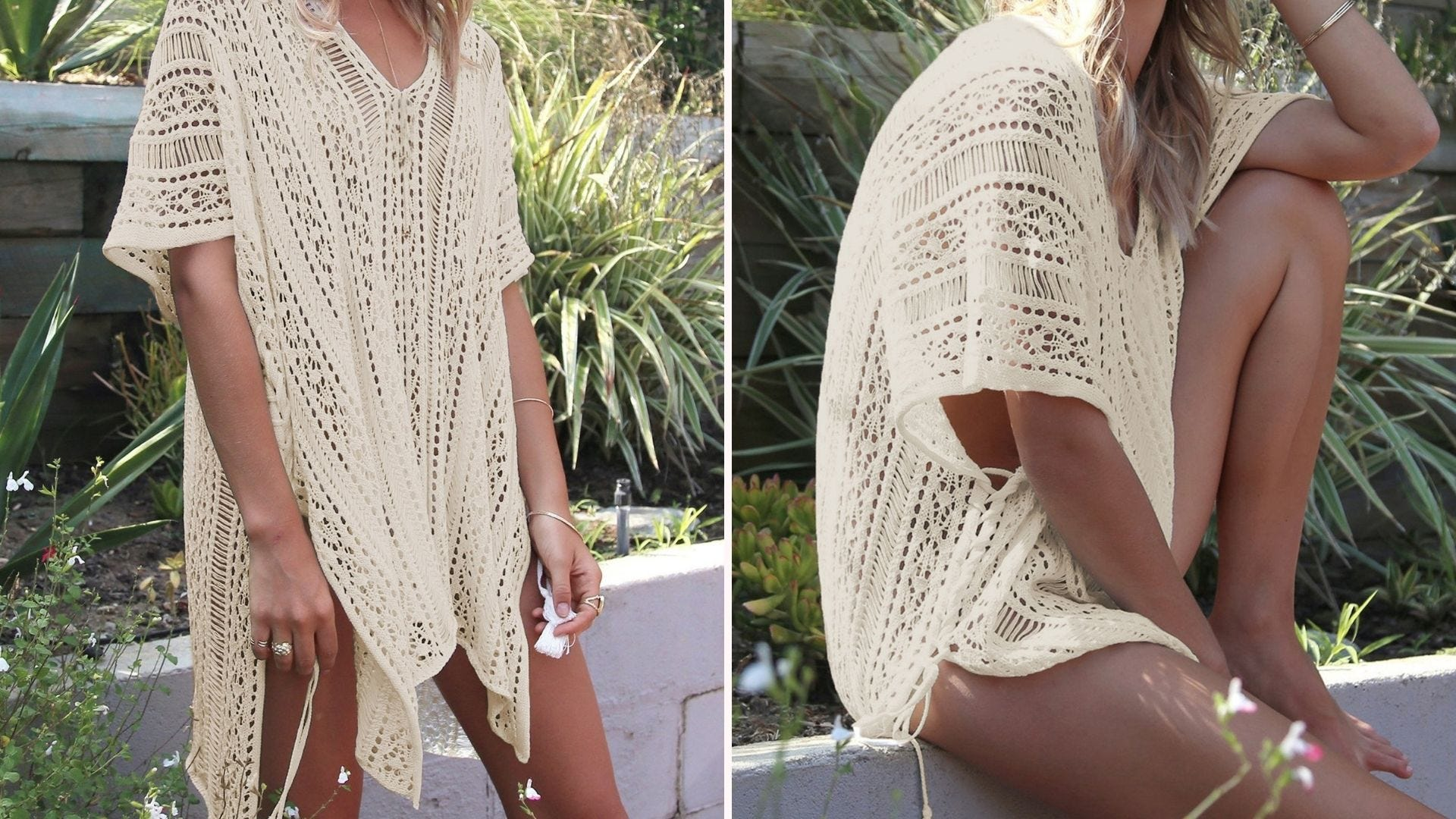 A woman wearing a crocheted ivory beach coverup; one image standing, one sitting