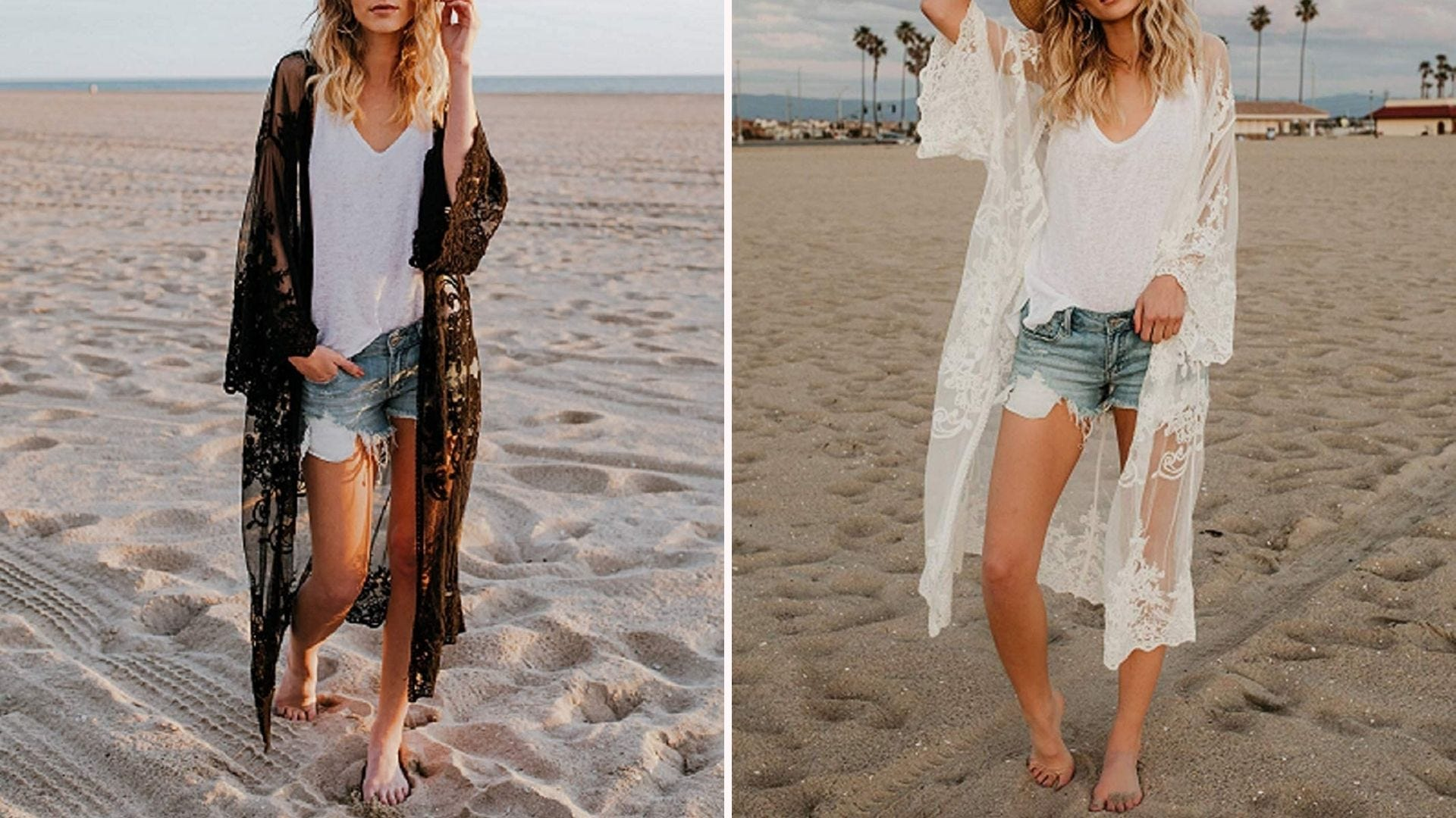 Two women on a beach - one with a black lace coverup, one with a white lace coverup