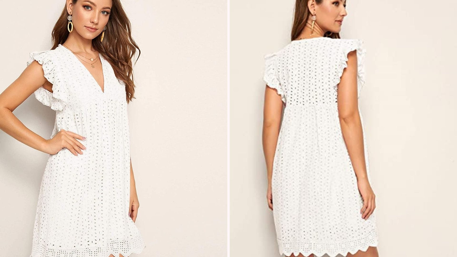 Front and back view of a woman wearing a white eyelet dress