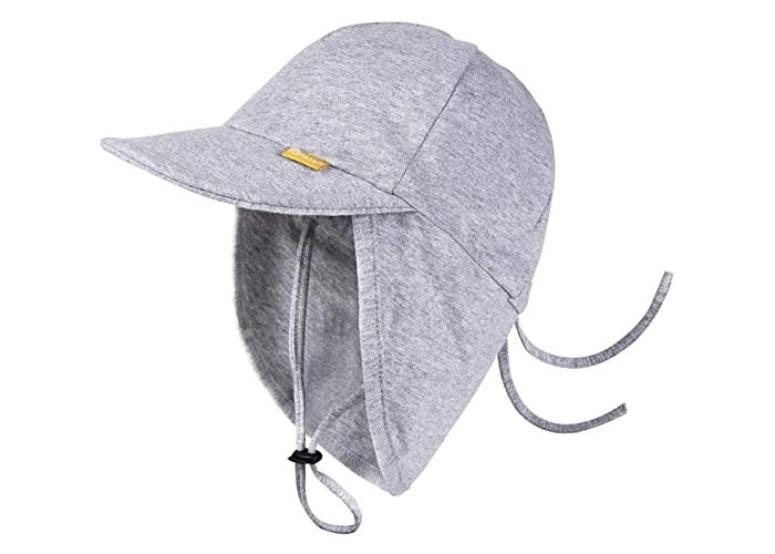 side view display of gray baby sun hat
