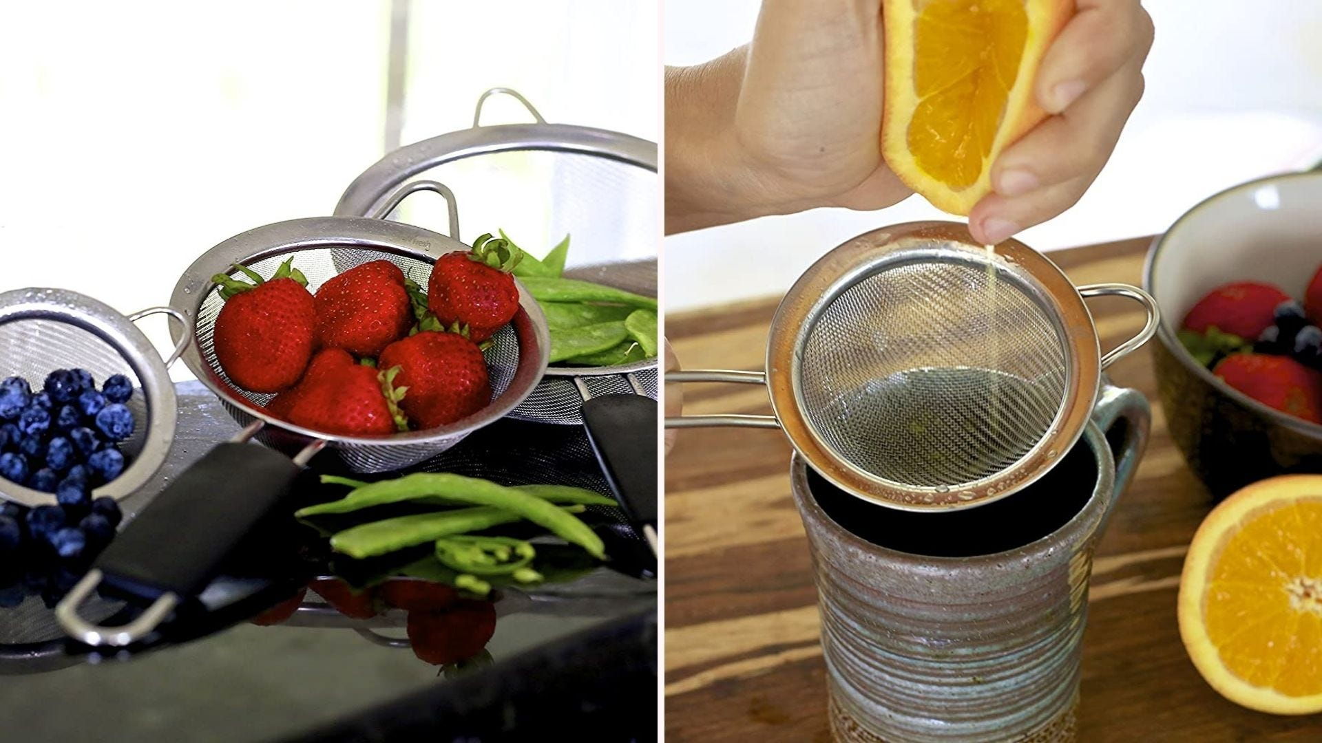 Two images of a mini fine mesh strainer, filled with fresh fruit. The right image is of someone squeezing an orange over the strainer to catch the seeds.