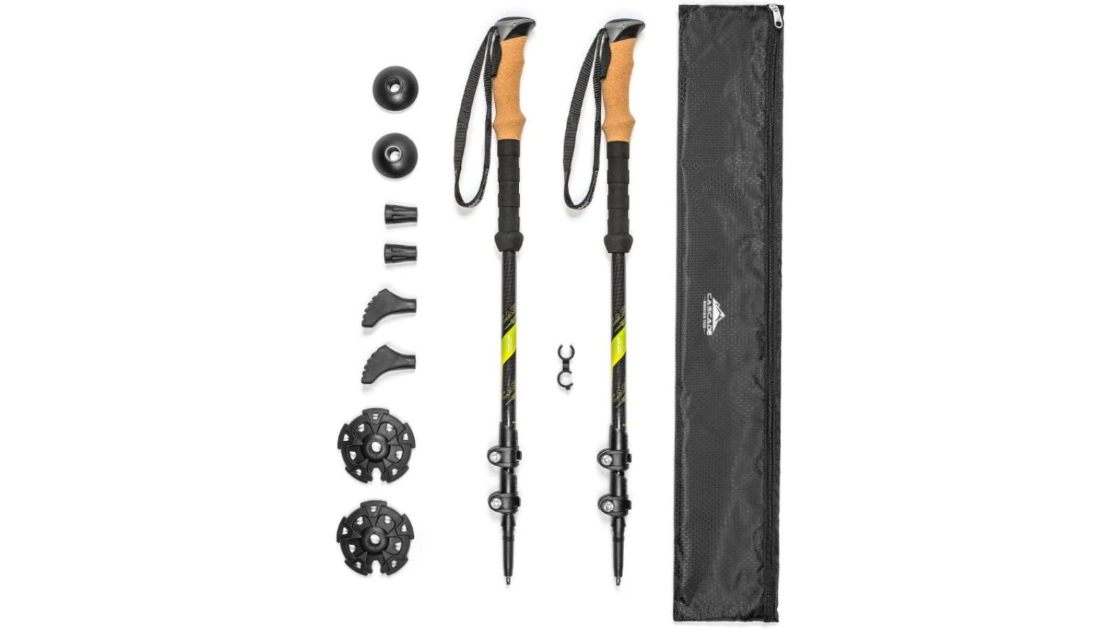 These durable hiking poles are made of carbon fiber material