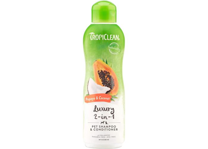 Tropiclean two-in-one luxury papaya coconut pet shampoo.