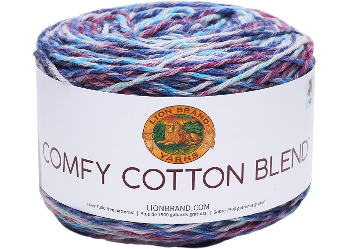 Comfy cotton blend multicolored skein of yarn