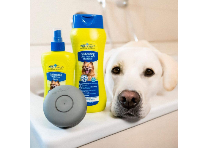 Furminator deshedding dog shampoo for dogs and cats, bottle is next to a yellow lab dog.
