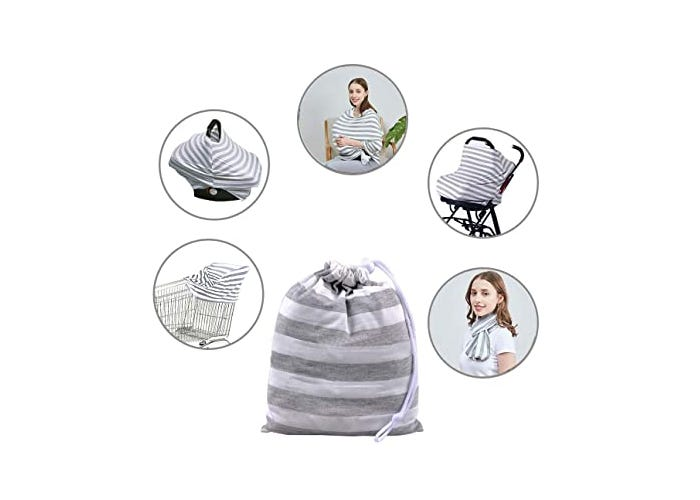 gray and white nursing cover displayed in multiple uses