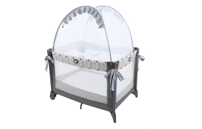 a crib tent in a pack 'n play