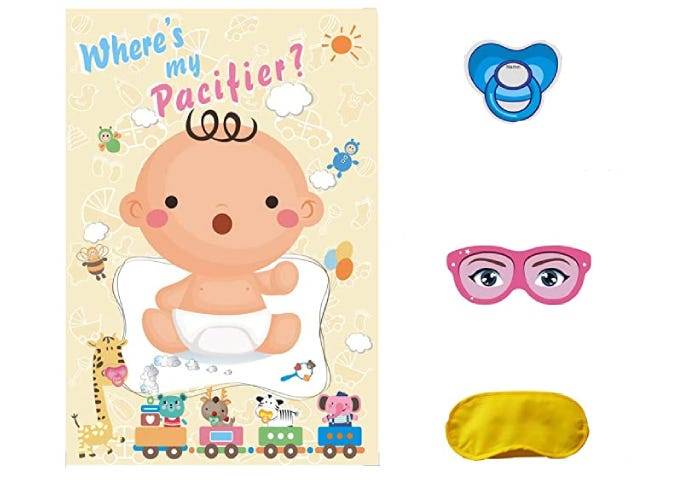 baby pacifier game displayed with all pieces