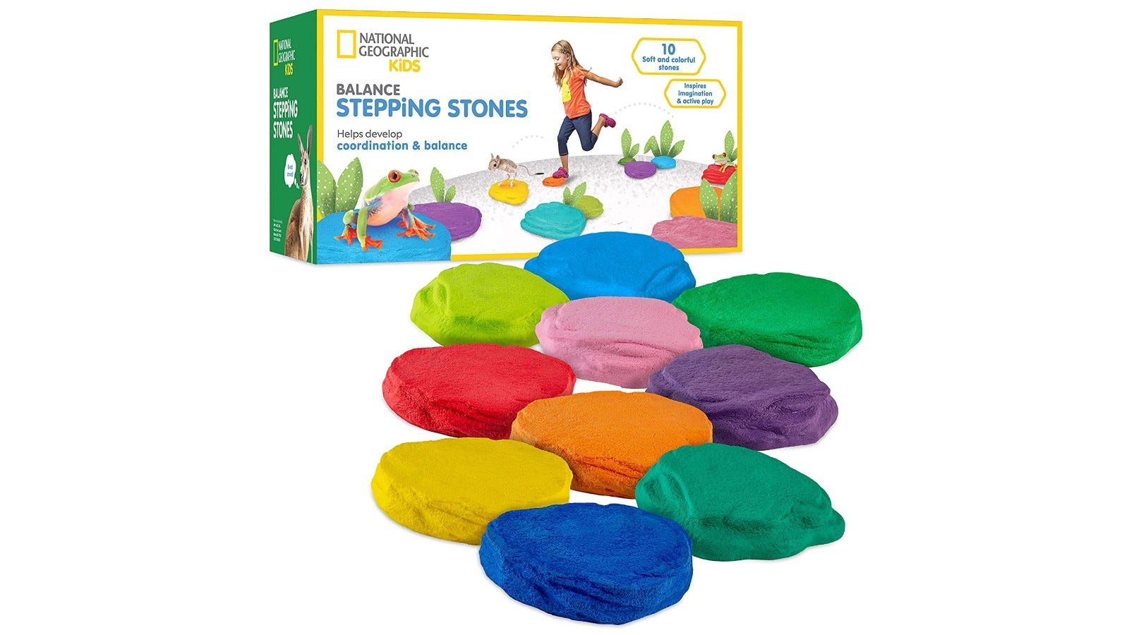 a collection of colorful stepping stones