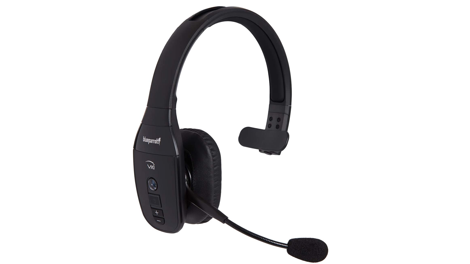 black wireless phone headset with a rounded mic