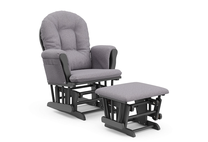 nursing chair and ottoman with pale gray upholstery and black frames