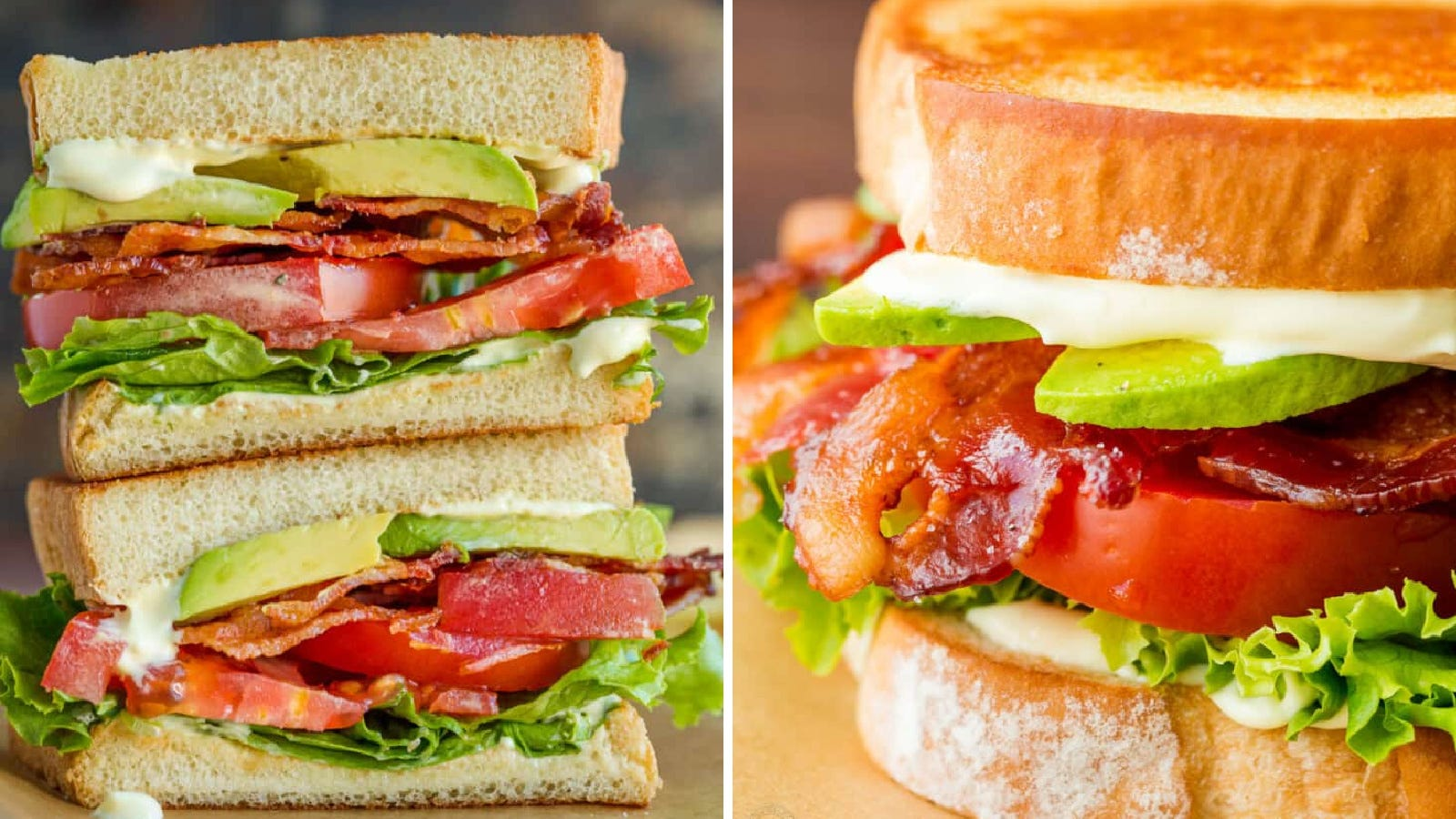 Two side by side images of a BLT sandwich. The left image is of a stacked BLT, displaying the ingredients in the sandwich and the right image is of a side view of the BLT.