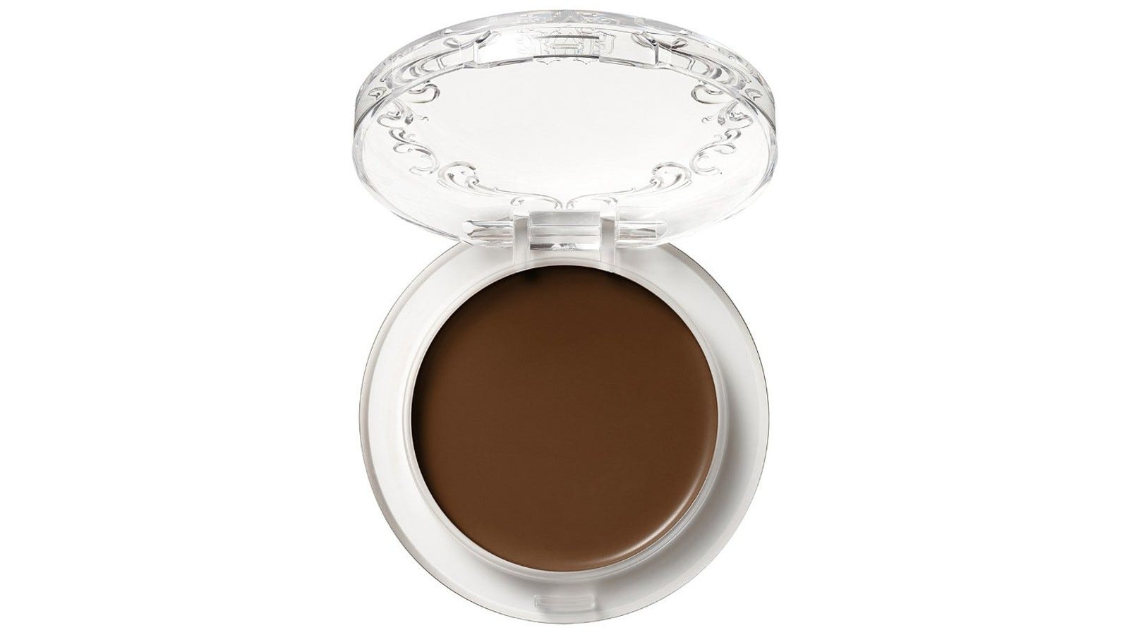 clear makeup compact with dark foundation shade