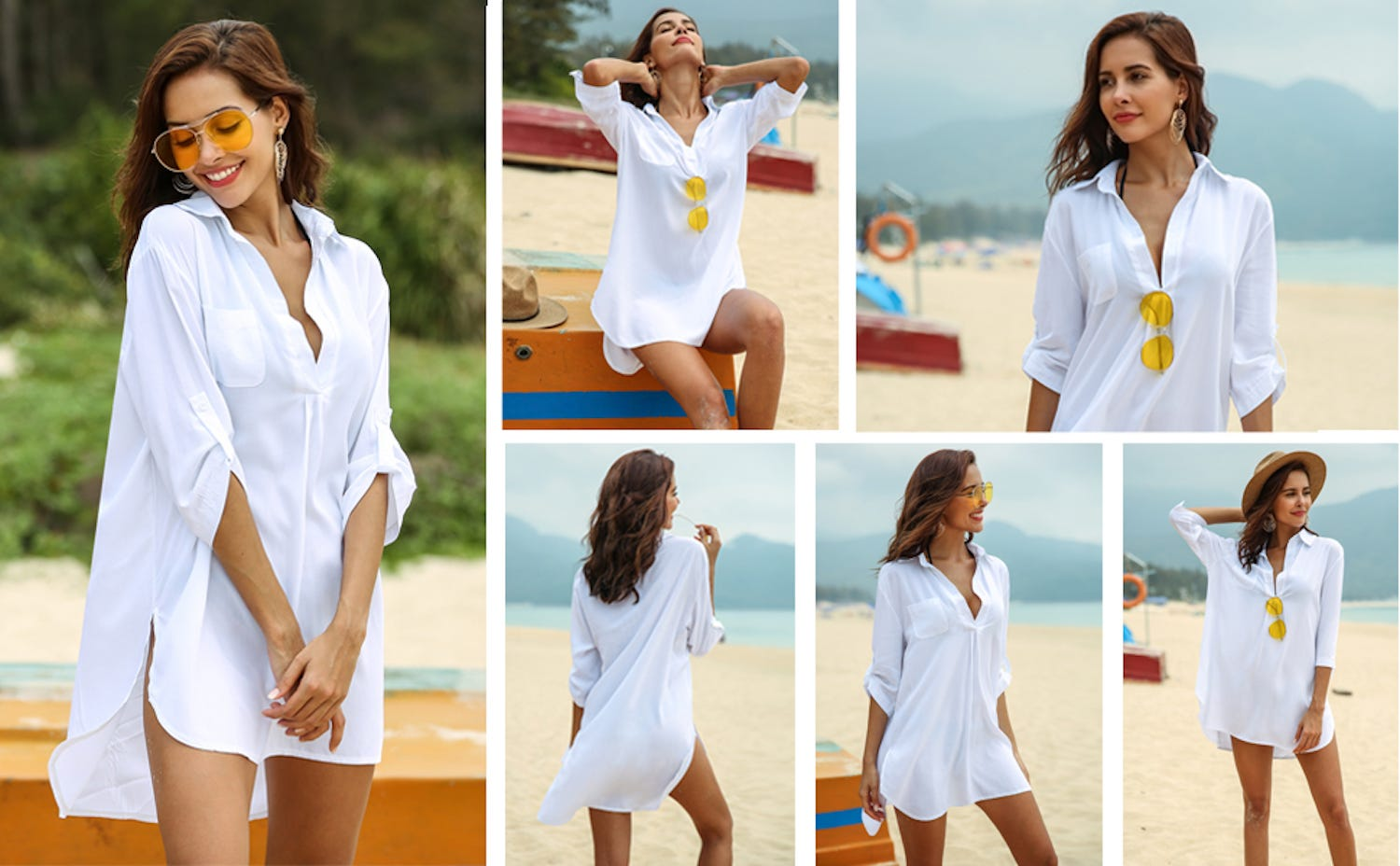Photo montage of a woman wearing a white long-sleeved beach coverup