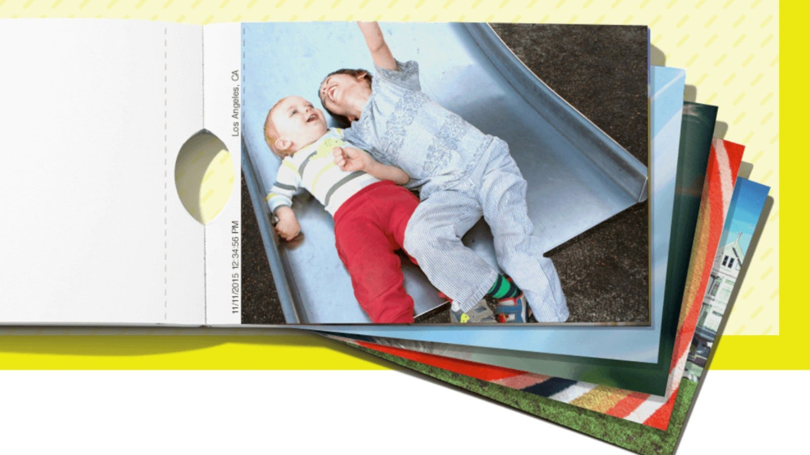 photobook featuring a photo of two kids laughing