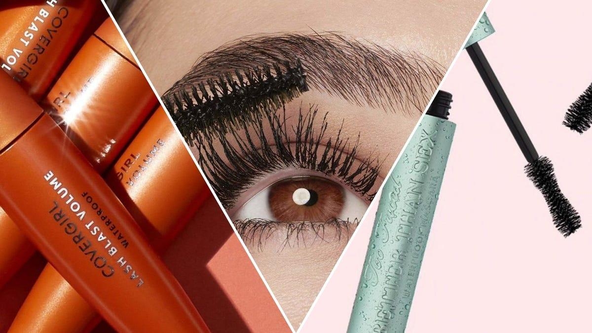 Orange tubes of mascara; a wand applying mascara; a teal-colored mascara tube