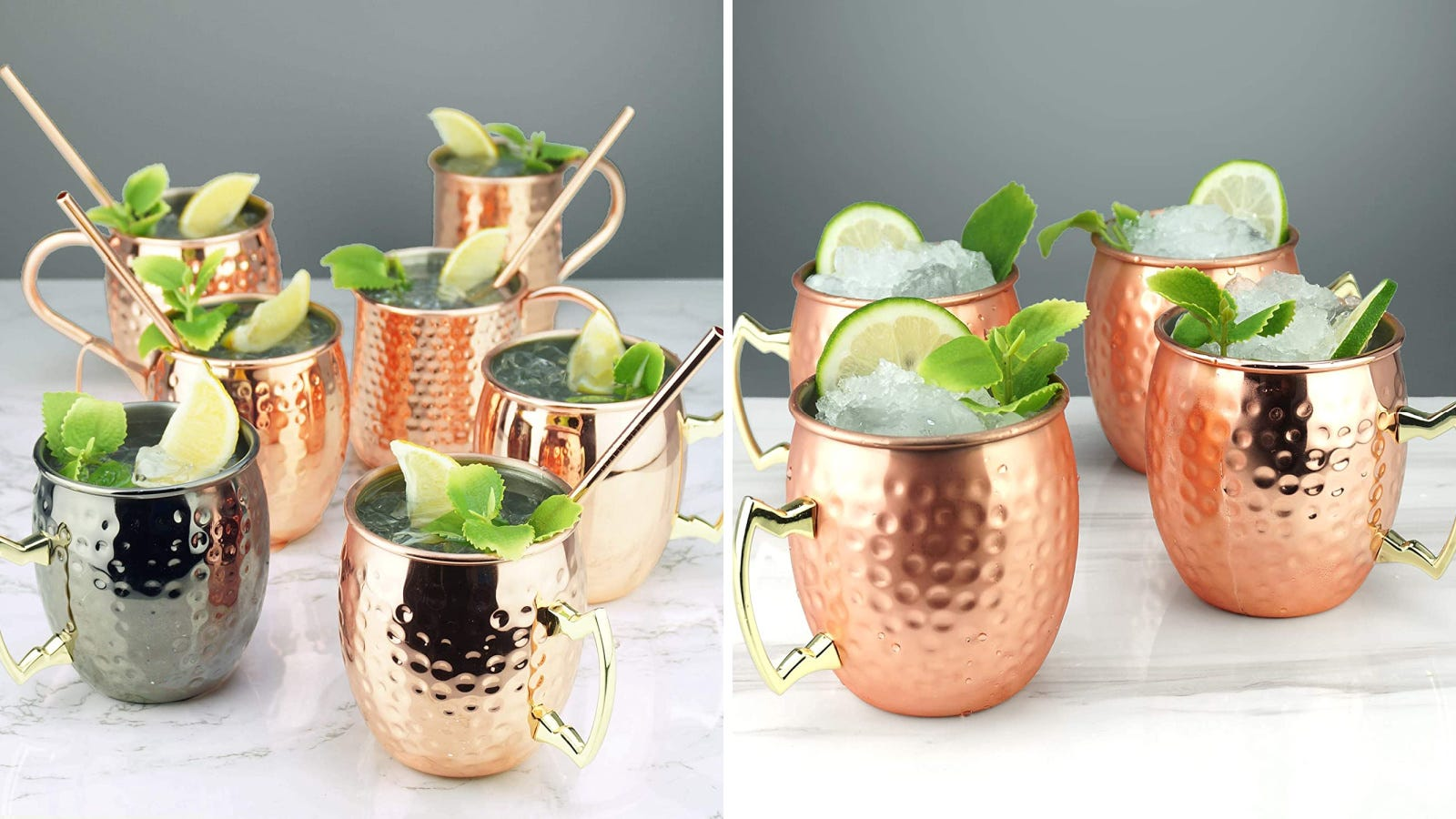 Two images displaying PG Moscow Mule mugs, filled with the drink and garnished.