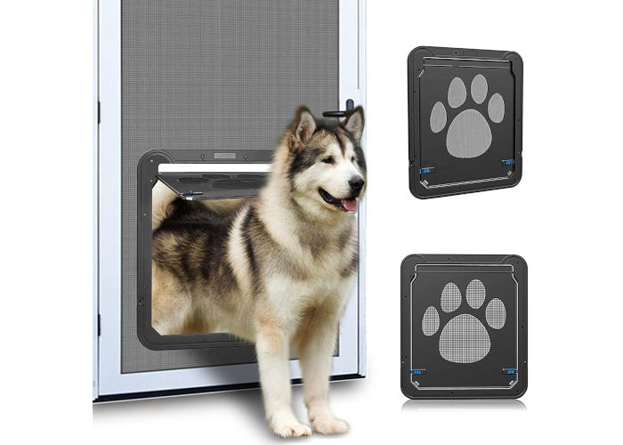 Self-closing, lockable ABS/mesh dog door designed for use with screen doors and windows