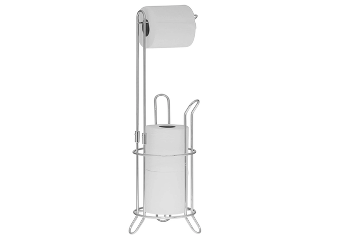 a floor-standing slender chrome toilet paper holder with a bar to hold a roll of toilet paper and a space to stack extra rolls