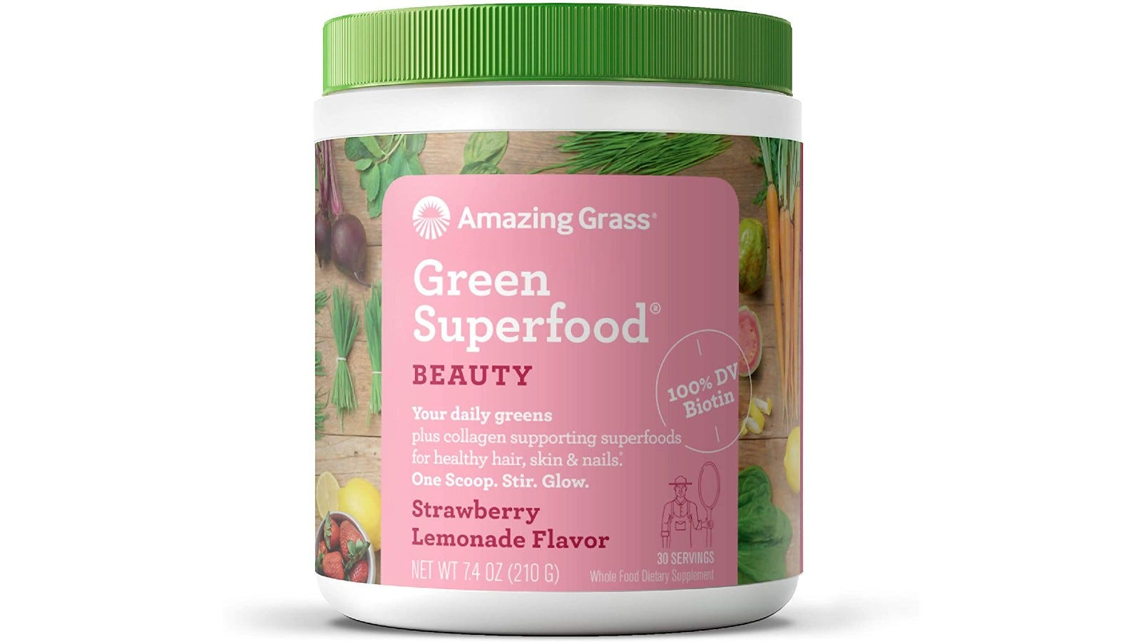 a container of Amazing Grass Green Superfood powder