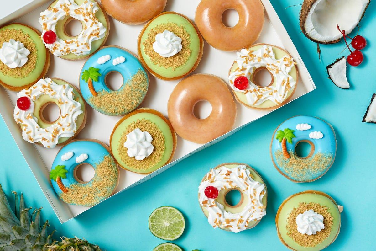 Krispy Kreme's new tropical doughnut line.