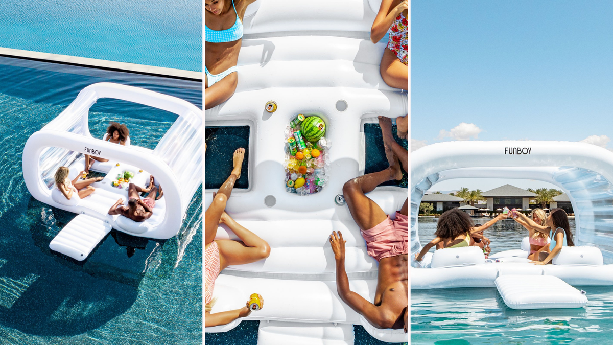 People on the Giant Cabana Dayclub raft with a cooler full of drinks.