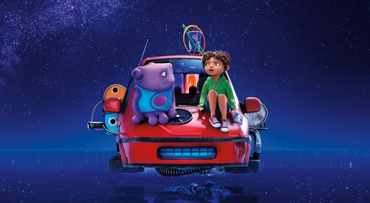 """A scene from """"Home,"""" with a purple alien and a girl sitting on top of a red car that's floating in space."""