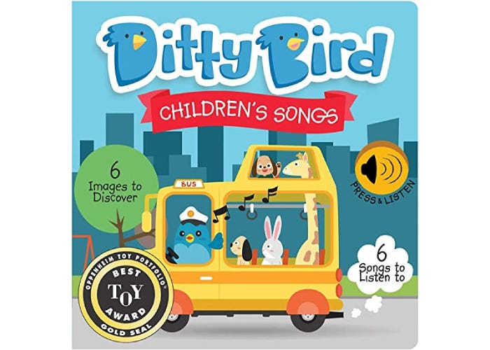 Ditty Bird Children's Songs book cover with illustrated bus and animals
