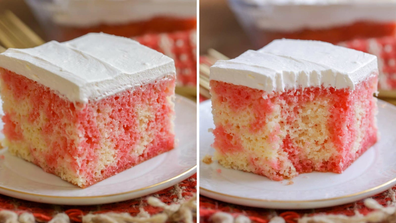 Two images of strawberry Jell-O Poke cake.