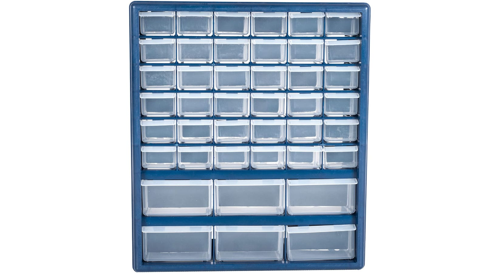 A blur teacher toolbox that has 42 drawers.