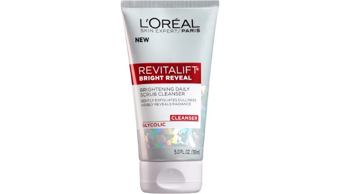 A bottle of L'Oreal Reitalift Bright Reveal Facial Cleanser is shown against a white background.