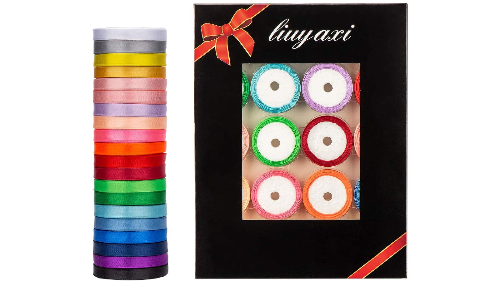 20 brightly colored ribbons stacked vertically next to black rectangular packaging