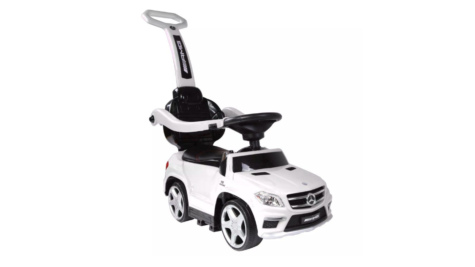 A white Mercedes push car with black accents.