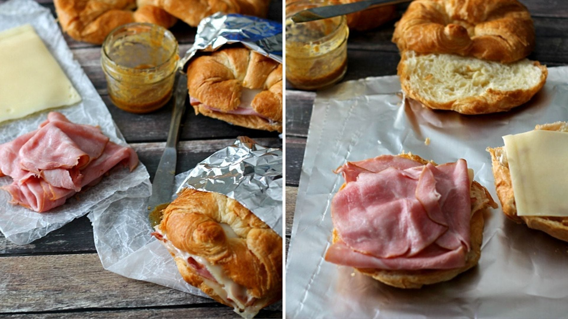 Croissant sandwiches with ham and Swiss cheese