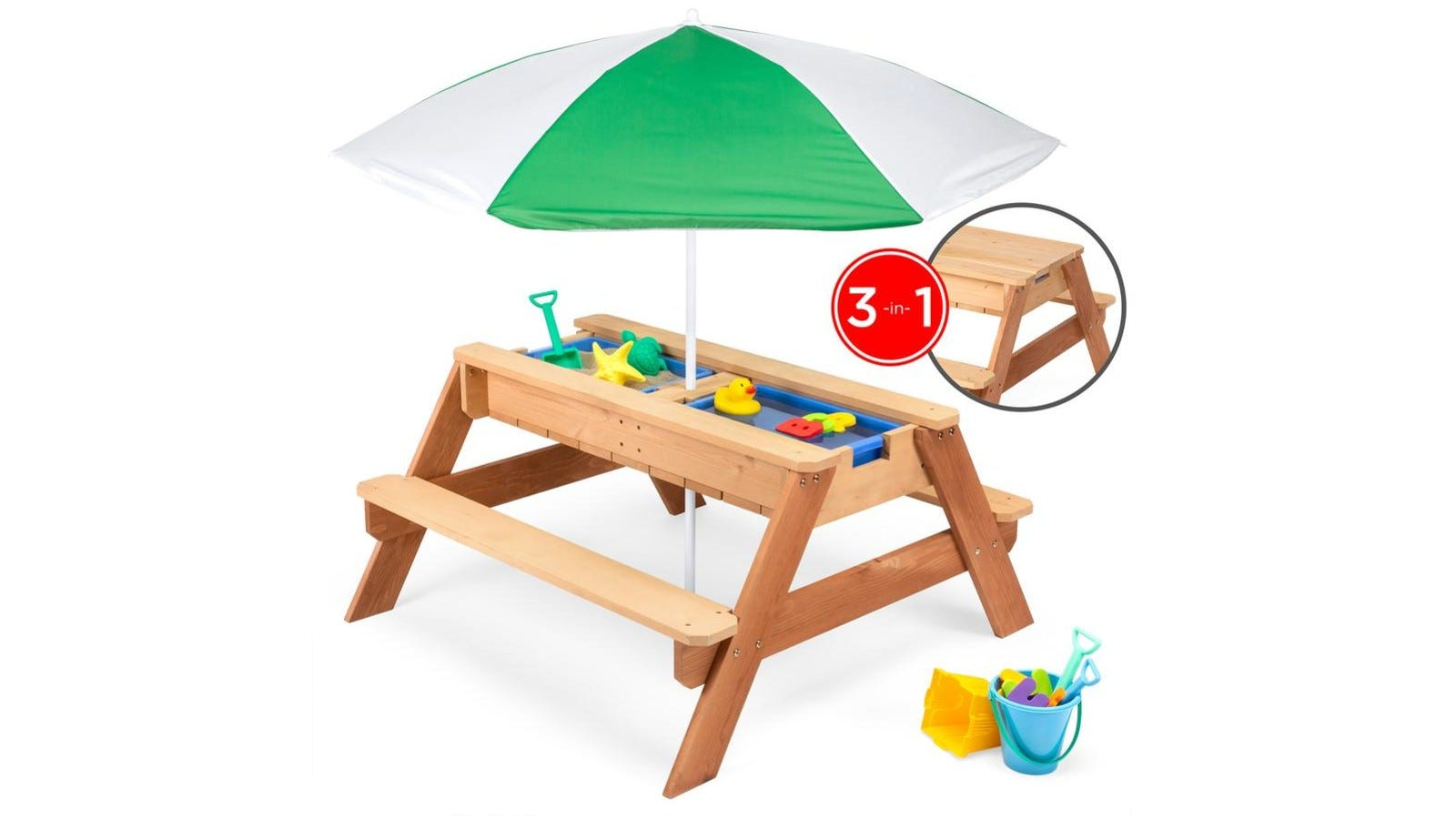 picnic table with umbrella and middle panel for sand and water