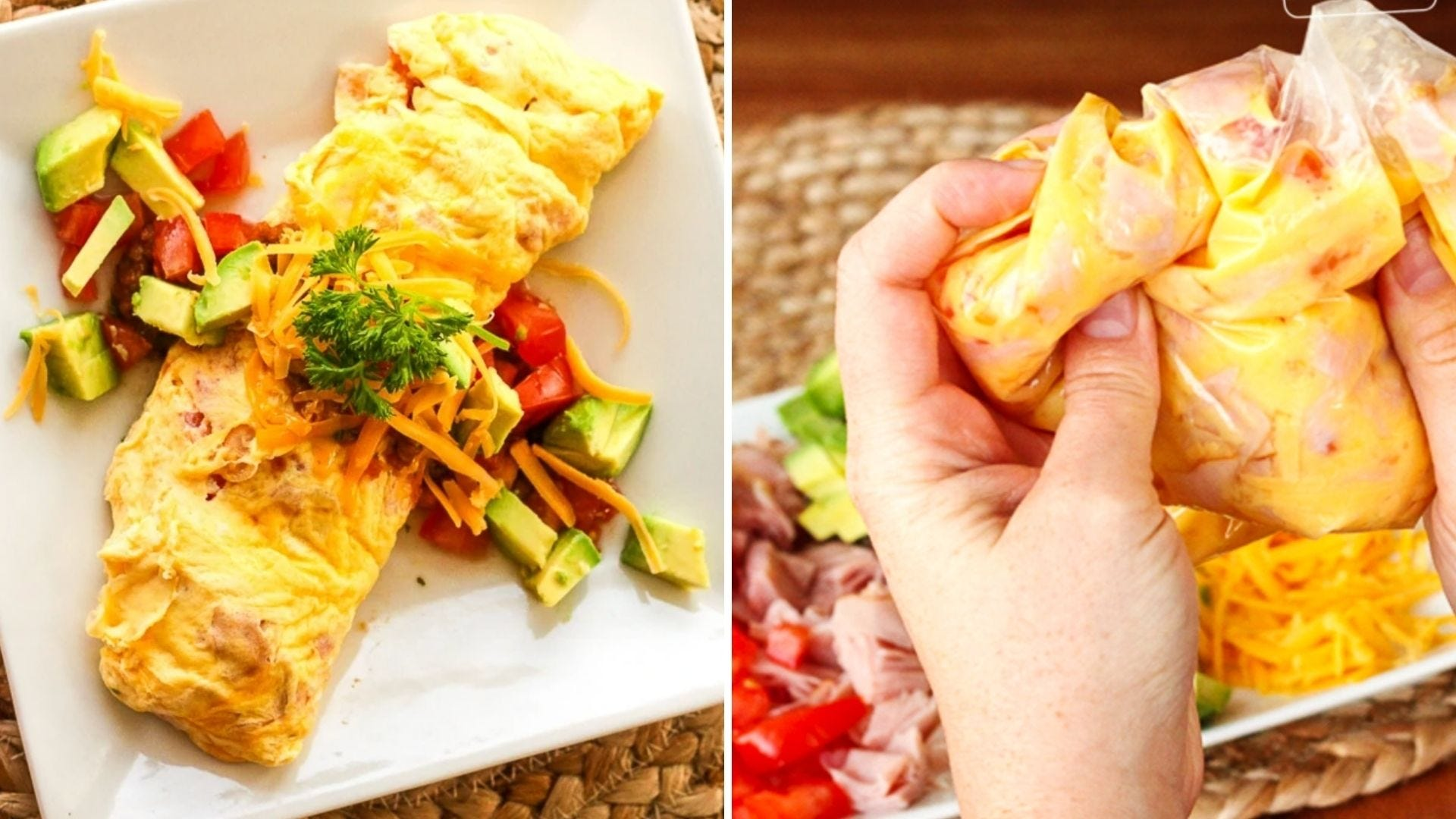An omelet on a plate and someone holds a bag of eggs and ham mixed together