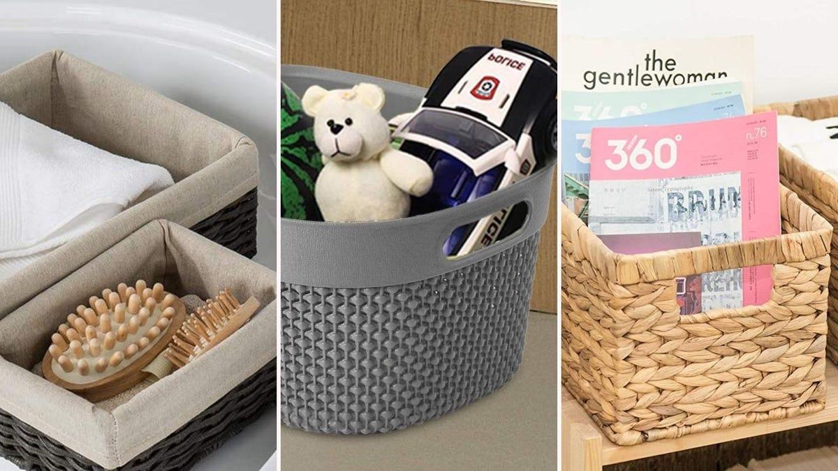 A woven basket bin, a plastic basket storage bin, and a wicker basket bin.