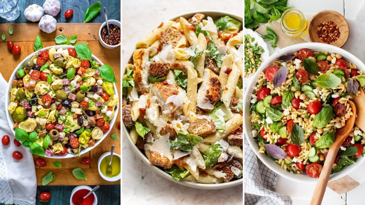 Antipasto pasta salad by Host the Toast, chicken Caesar pasta salad by Salt and Lavender, and Mediterranean pasta salad by Love and Lemons.