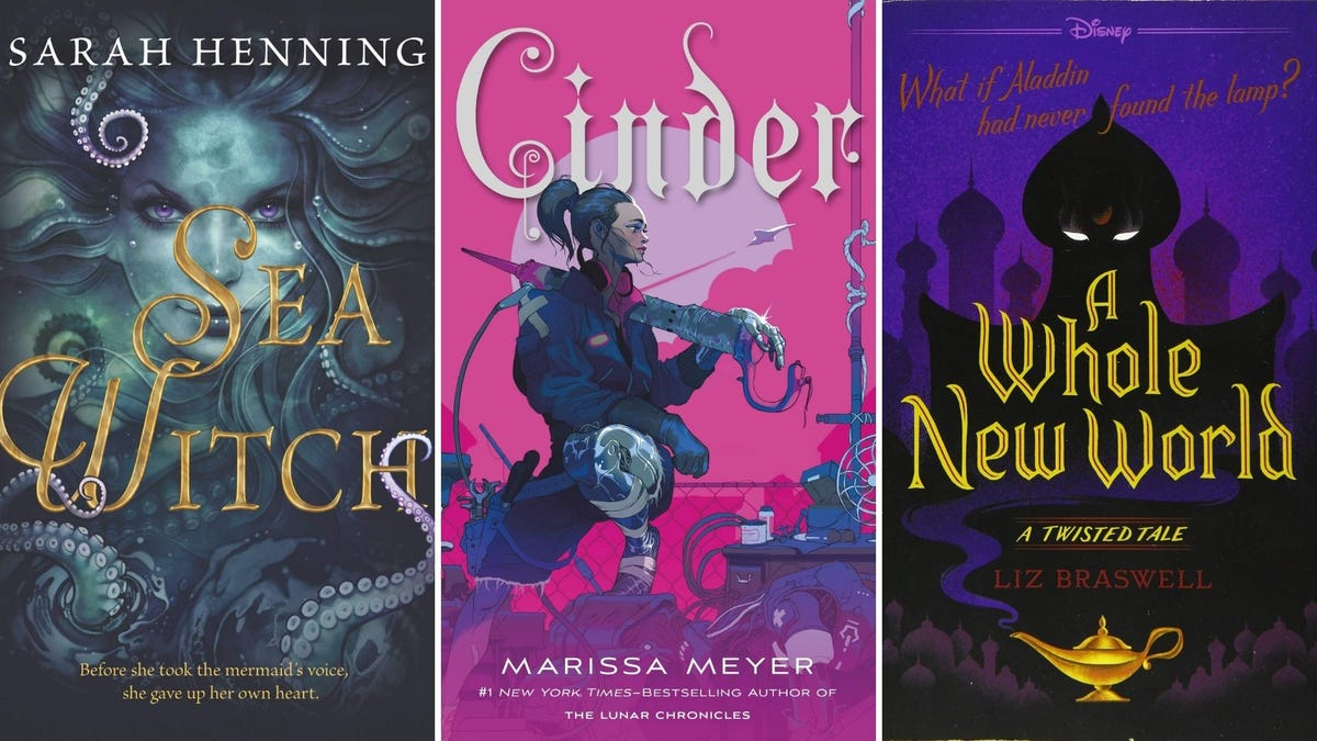 Book covers for Sea Witch, Cinder, and A Whole New World