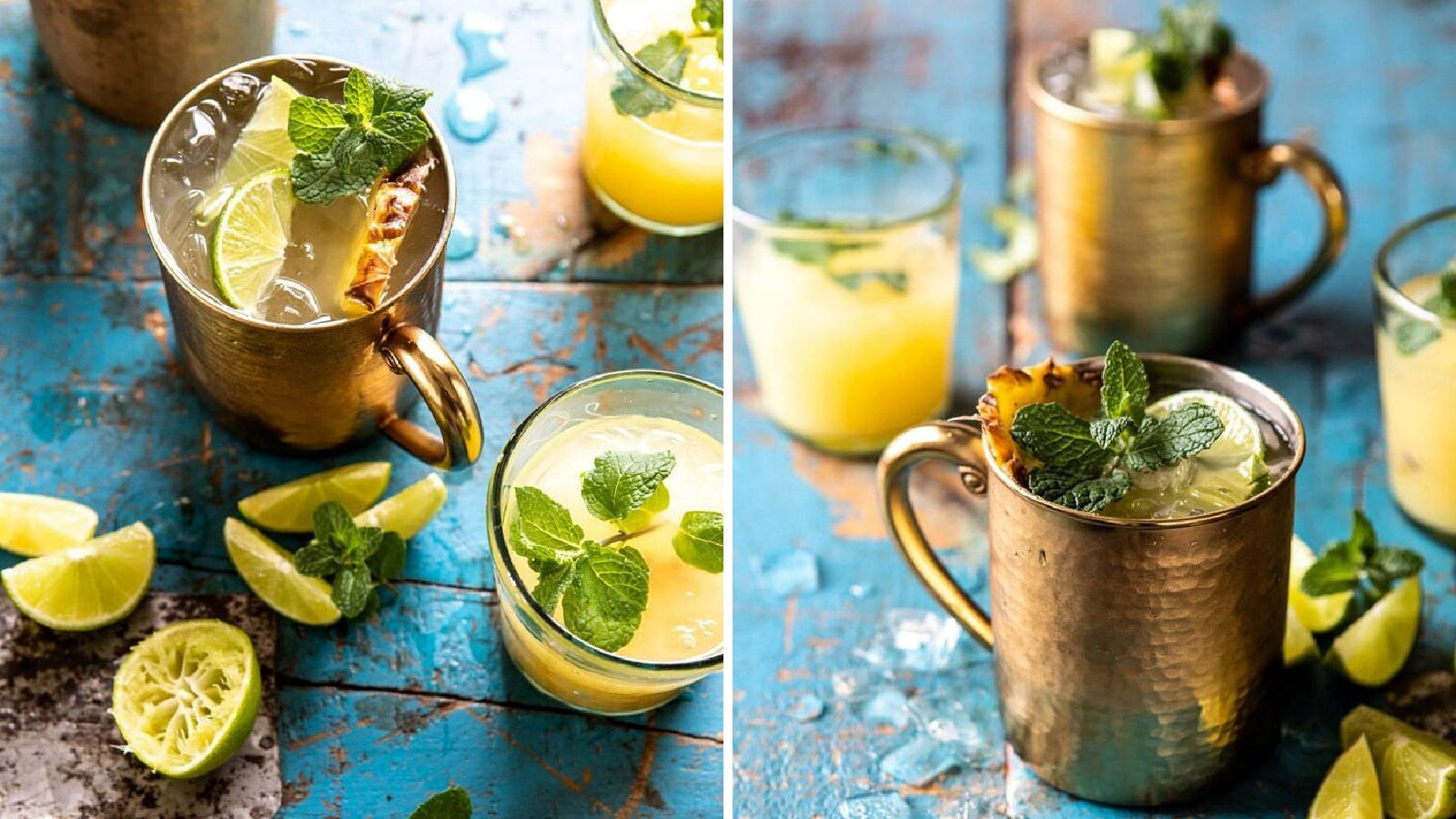Two images displaying pineapple orange moscow mules served with pineapple and lime wedges, and mint leaf garnishes.